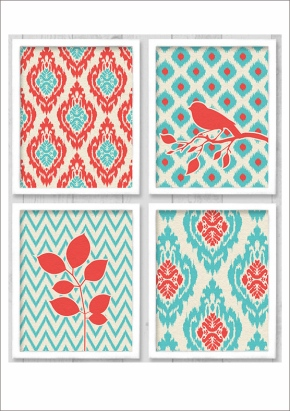 Ikat birds print download