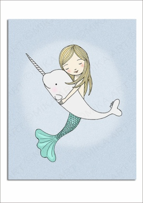 mermaid print downloadable