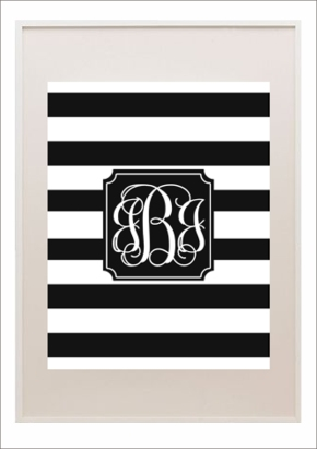 Black and white striped monogram by Printable Monogram