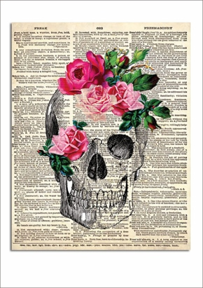 Vintage Skull and flowers downloadable print