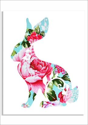 floral bunny downloadable print